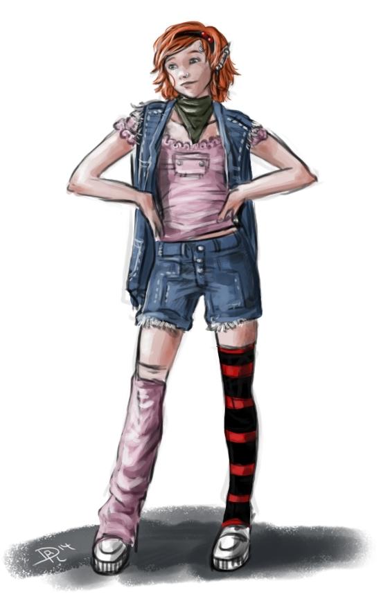 Shadowrun-Skizze: Meine Riggerin Lanyana hat die Haare ab.