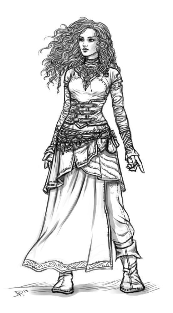 DSA-Zeichnung: Mein meistgespielter Char Neferu war shoppen und hat neue Kleidung.