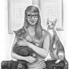 Portrait mit Katzen